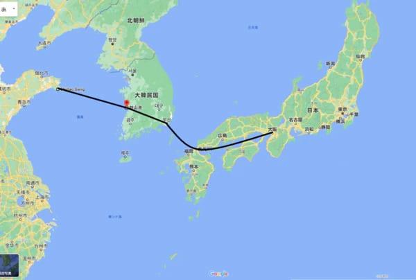 山東省地域から日本への海上輸送は、フェリー船「UTOPIA」の時代がありました。